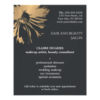 Elegant Dark Faux Gold Floral Beauty Makeup 11.5 Cm X 14 Cm Flyer