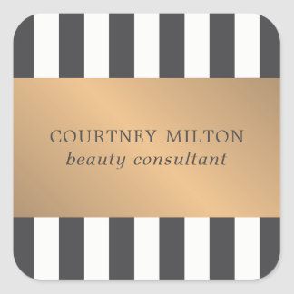 Elegant Dark Faux Gold Stripes Beauty Consultant Square Sticker
