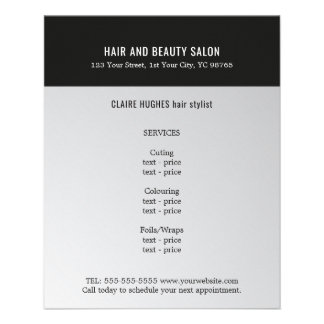 Elegant Dark Faux Silver Black Beauty Salon Flyer