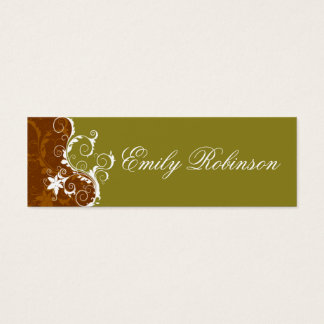 Elegant Dark Gold and White Flowers Mini Business Card