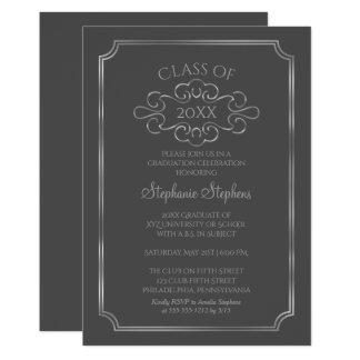 Elegant Dark Gray  Silver College Graduation Party Card