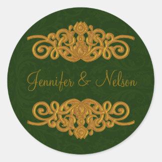 Elegant Dark Green & Gold Wedding Envelope Seal Round Sticker
