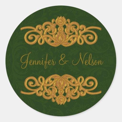 Elegant Dark Green & Gold Wedding Envelope Seal Sticker