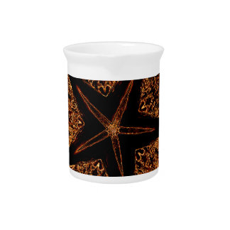 Elegant Dark Kaleidoscopic Design Black Brown Star Pitcher