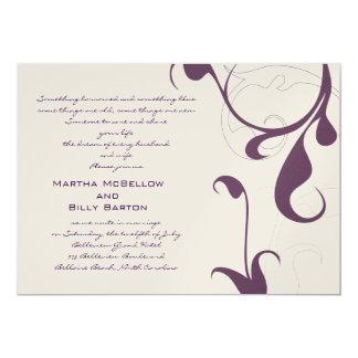 "ELEGANT DARK PURPLE AND CHANPAGNE WEDDING 5"" X 7"" INVITATION CARD"
