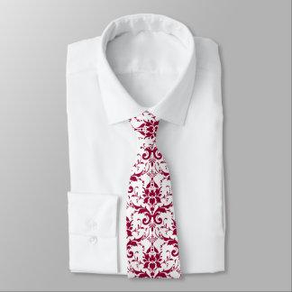 Elegant dark red-pink vintage damask on white tie