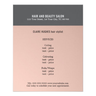Elegant Dark Rose Grey Beauty Salon Flyer