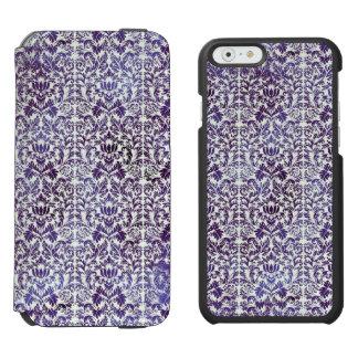 Elegant Dark Royal Purple Damask Batik Incipio Watson™ iPhone 6 Wallet Case