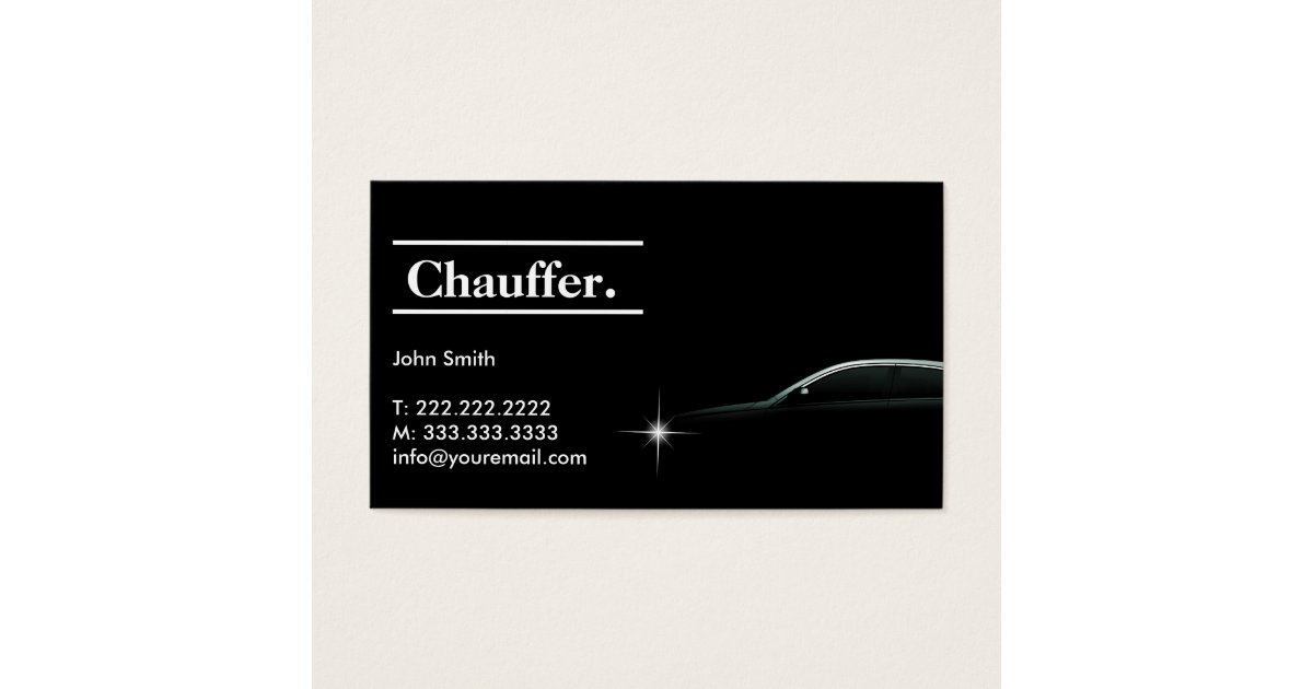 Elegant dark taxi driver chauffeur business card zazzle for Chauffeur business cards