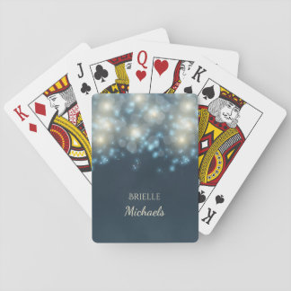 Elegant Dark Teal Bokeh Glamour Glow With Name Playing Cards