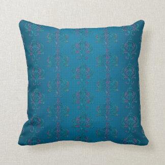 Elegant Dark Turquoise Damask Print Cushion
