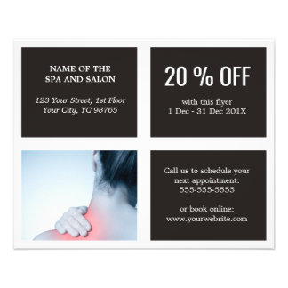 Elegant Dark White Blue Photo Massage Therapist Flyer