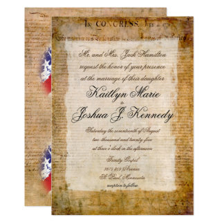 Elegant Declaration of Independence 1776 Wedding Card