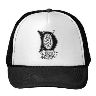 Elegant Decorative Monogram D Mesh Hats