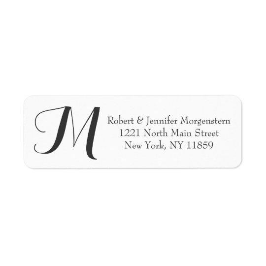 Elegant & Decorative Script Black & White Monogram Return Address Label