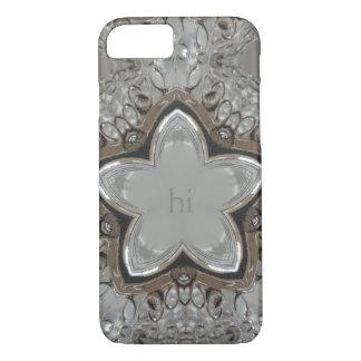 Elegant Decorative Silver Gray Star Monogram hi iPhone 8/7 Case