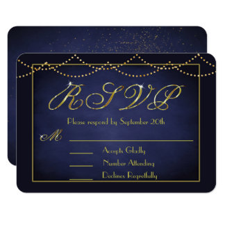 Elegant Deep Blue and Gold Glitter RSVP Cards