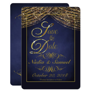 Elegant Deep Blue and Gold Glitter Save the Dates Card