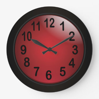 Elegant Deep Red and Black with Bold Black Numbers Wall Clocks