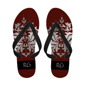 Elegant Deep Red and Grey Damask Monogrammed Flip-Flops