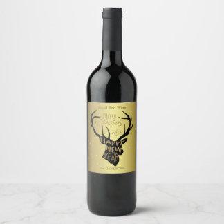 Elegant Deer Gold Foil Holiday Wishes Wine Label