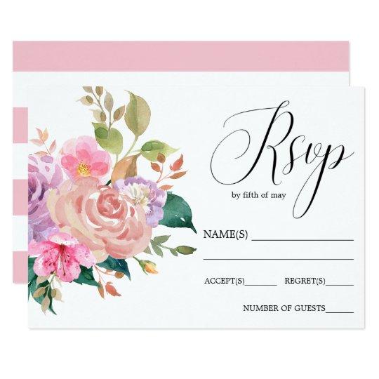 Elegant delicate pink bouquet  wedding RSVP Card