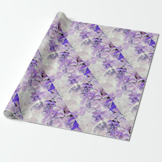 Elegant delicate purple vine leaves wrapping paper