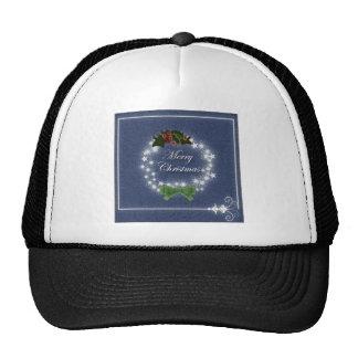 Elegant Denim Christmas Wreath Cap