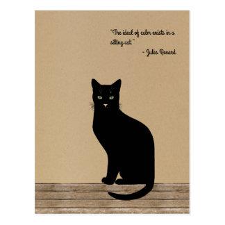 Elegant designed black cat - Renard quote Postcard