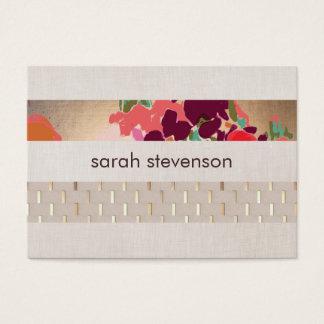 Elegant Designer Floral Chic Gold & Linen Striped Business Card