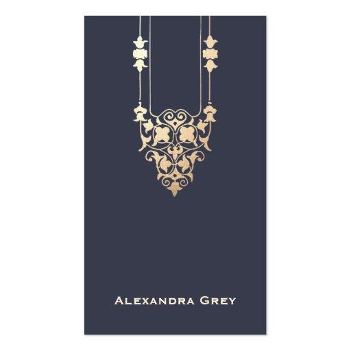 Elegant Designer Navy Blue and Gold Business Card