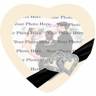 Elegant Diamond Black Ribbon Photo Frame Standing Photo Sculpture