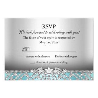 Elegant Diamond Blue RSVP Personalized Invitations