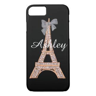 Elegant Diamond & Gold Eiffel Tower iPhone 7 case