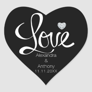 Elegant Diamond Heart LOVE Black Wedding Seals Heart Sticker