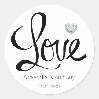 Elegant Diamond Heart LOVE Black Wedding Seals Round Sticker
