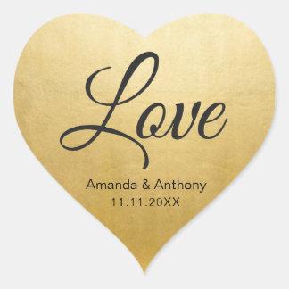 Elegant Diamond Heart LOVE Gold Foil Wedding Seals