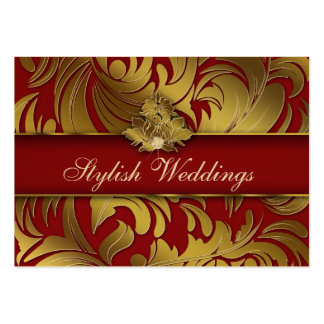 Elegant Diamond Logo Red Gold Jumbo 2 Business Cards