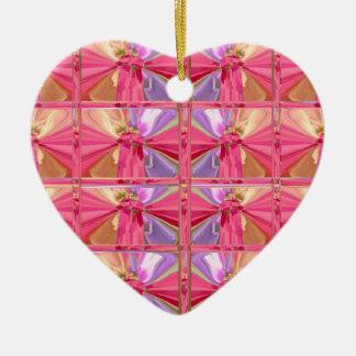 Elegant Diamond Pattern Pink Smile Happy heart Ceramic Ornament