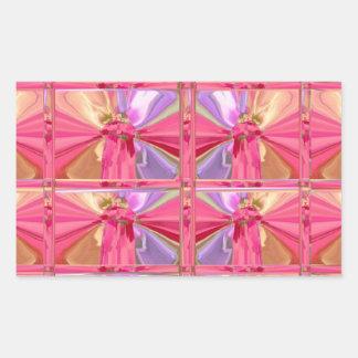 Elegant Diamond Pattern Rose Pink Smile Happy Show Rectangular Sticker