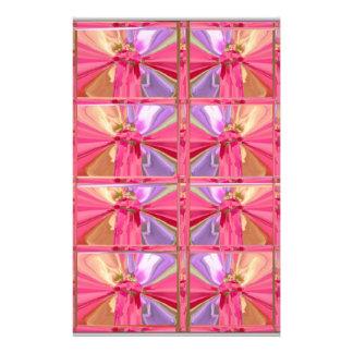 Elegant Diamond Pattern Rose Pink Smile Happy Show Stationery Paper