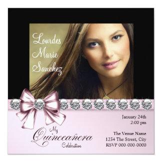 Elegant Diamond Pink Bow Photo Quinceanera Personalized Invite