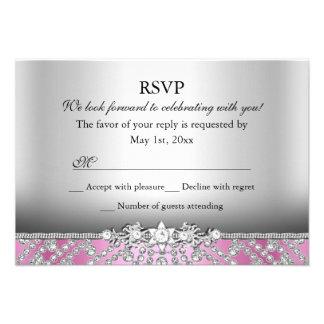 Elegant Diamond Pink RSVP Custom Announcements