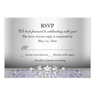 Elegant Diamond Purple RSVP Custom Announcement