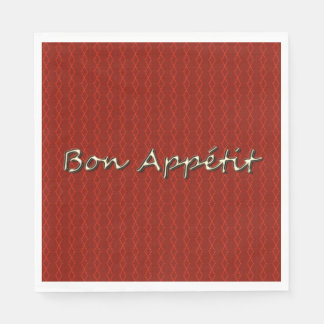 "Elegant-Diamond-Red-Threads_Gold-""Bon Appétit "" Disposable Serviettes"
