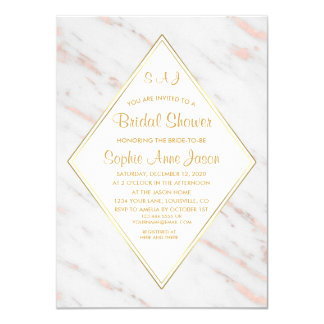 Elegant Diamond Rose Gold Marble Bridal Shower Card