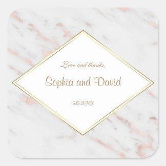 Elegant Diamond Rose Gold Marble Wedding Square Sticker
