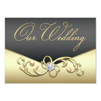 Elegant Diamond Swirl Black and Gold Wedding 11 Cm X 16 Cm Invitation Card