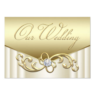 Elegant Diamond Swirl Gold Wedding Invitations