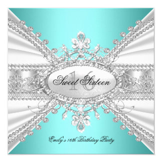 Elegant Diamond Teal Sweet 16 Sixteen Party 3 13 Cm X 13 Cm Square Invitation Card